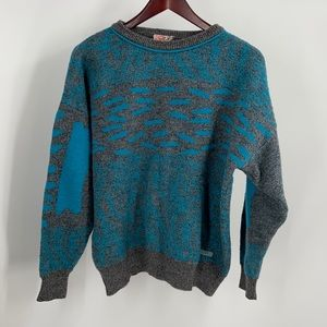 Vintage blue and gray abstract wool sweater
